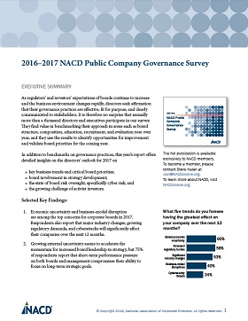 2016-2017 NACD Public Company Governance Survey: Executive Summary Cover