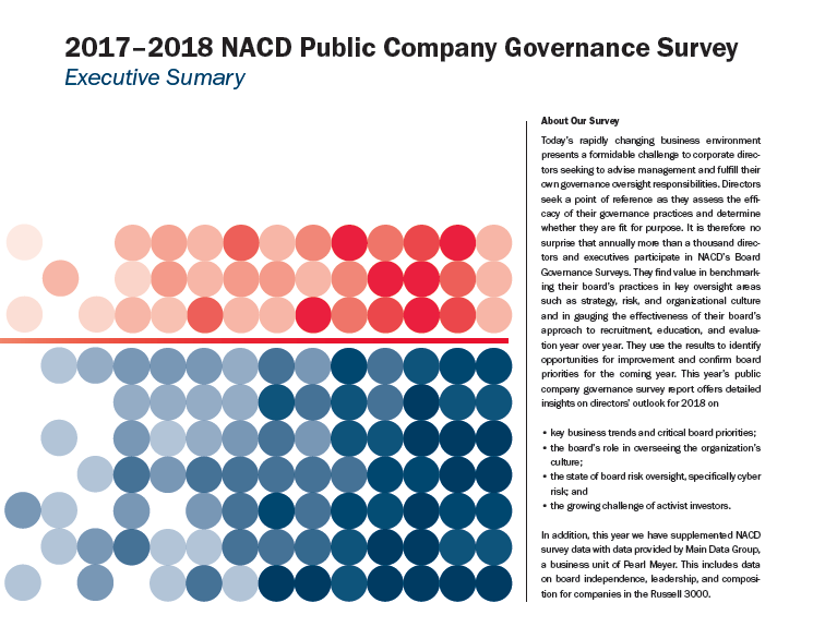 2017-2018 NACD Public Company Governance Survey: Executive Summary Cover
