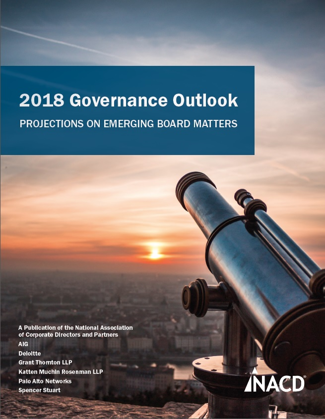 2018 Governance Outlook: Projections on Emerging Board Matters Cover
