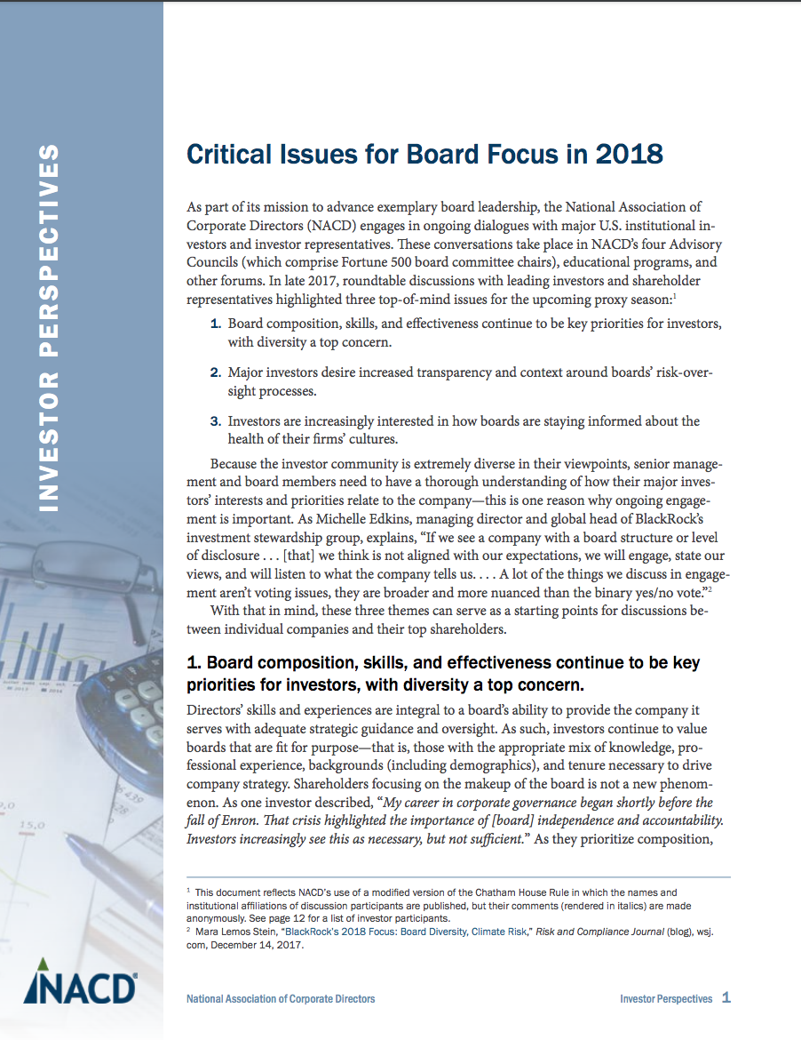 Investor Perspectives: Critical Issues for Board Focus in 2018 Cover