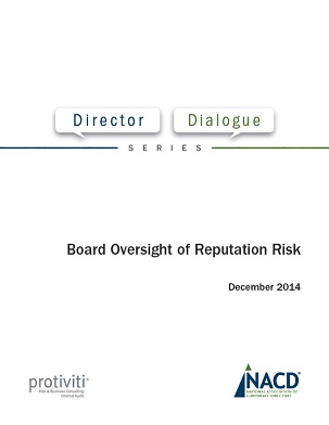 Director Dialogue: Board Oversight of Reputation Risk Cover