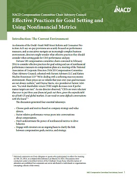 NACD Compensation Committee Chair Advisory Council: Effective Practices for Goal Setting and Using Nonfinancial Metrics Cover