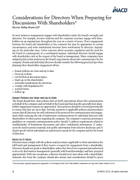 Considerations for Directors When Preparing for Discussions With Shareholders Cover