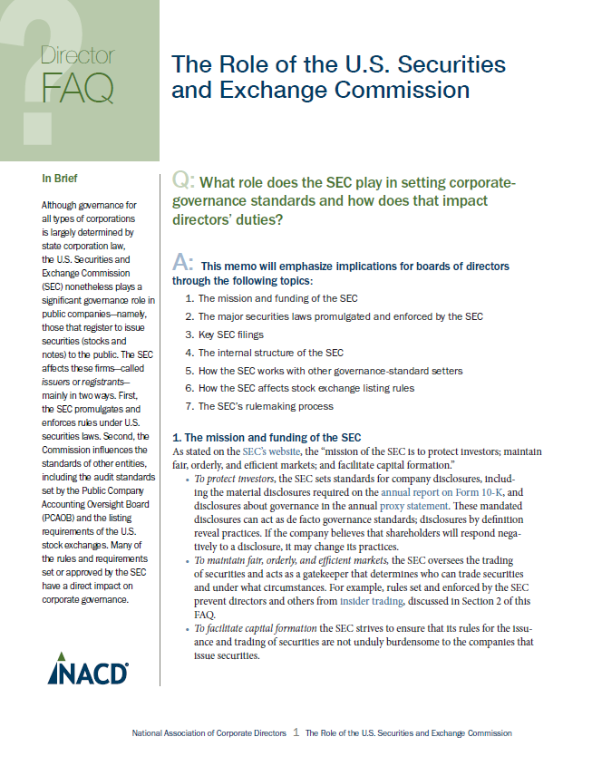 Director FAQ: The Role of the U.S. Securities and Exchange Commission Cover