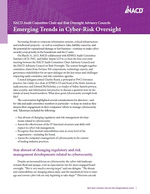 NACD Audit Committee Chair and Risk Oversight Advisory Council: Emerging Trends in Cyber-Risk Oversight Cover