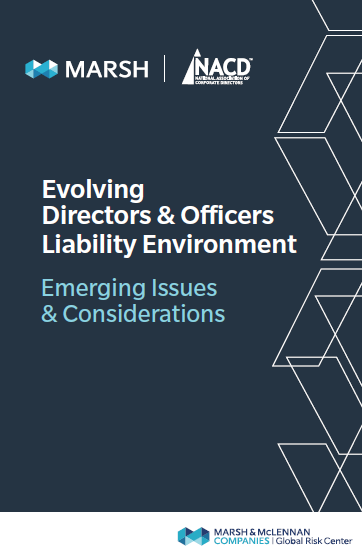 Evolving Directors & Officers Liability Environment Cover