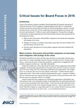 Investor Perspectives: Critical Issues for Board Focus in 2016 Cover