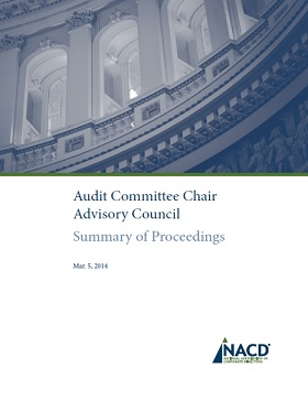 Mar. 5, 2014 Audit Committee Chair Advisory Council Summary of Proceedings Cover