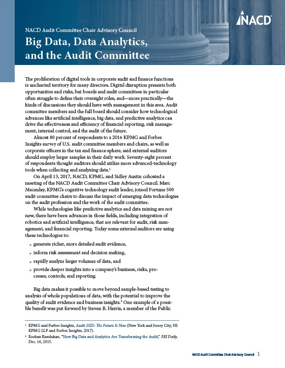 NACD Audit Committee Chair Advisory Council: Big Data, Data Analytics, and the Audit Committee Cover