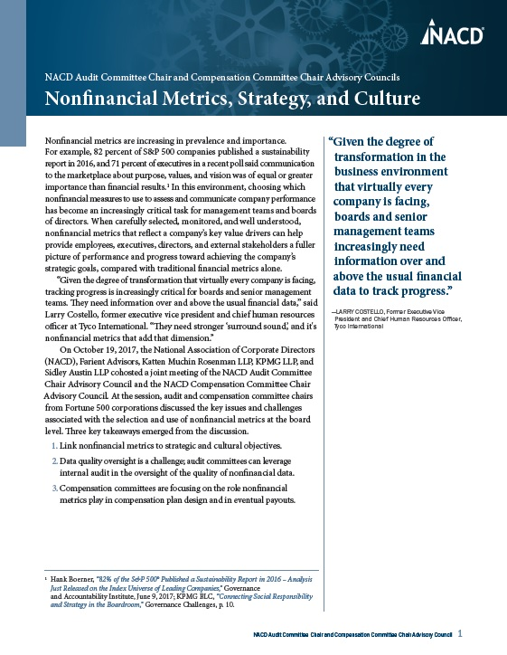 NACD Audit Committee and Compensation Committee Chair Advisory Council: Nonfinancial Metrics, Strategy, and Culture Cover