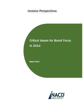 Investor Perspectives: Critical Issues for Board Focus in 2014 Cover