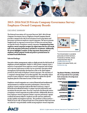 2015-2016 NACD Private Company Governance Survey: Employee-Owned Company Boards Executive Summary Cover