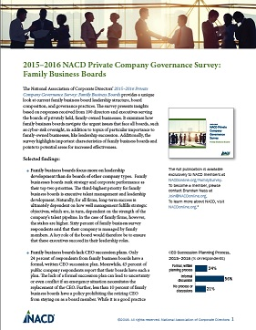 2015-2016 NACD Private Company Governance Survey: Family Business Boards Executive Summary Cover
