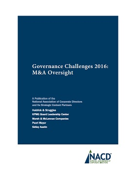Governance Challenges 2016: M&A Oversight Cover