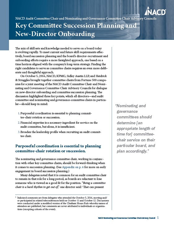 NACD Audit Committee and Nominating and Governance Committee Chair Advisory Councils: Key Committee Succession Planning and New-Director Onboarding Cover