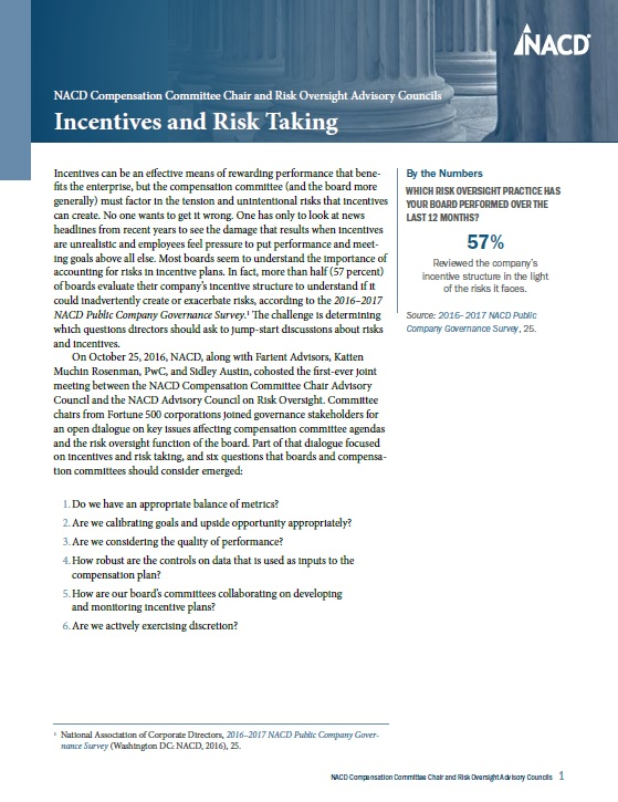 NACD Compensation Committee Chair Advisory Council and the Advisory Council on Risk Oversight: Incentives and Risk Taking Cover