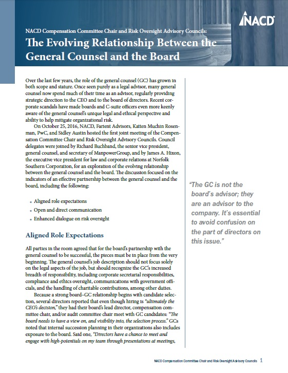 NACD Compensation Committee Chair Advisory Council and the Advisory Council on Risk Oversight: The Evolving Relationship Between the General Counsel and the Board Cover