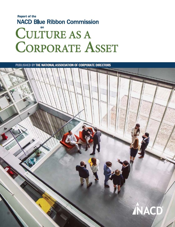 NACD Blue Ribbon Commission Report on Culture as a Corporate Asset Cover