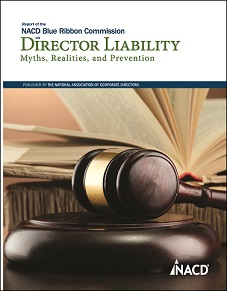 Report of the NACD Blue Ribbon Commission on Director Liability Cover