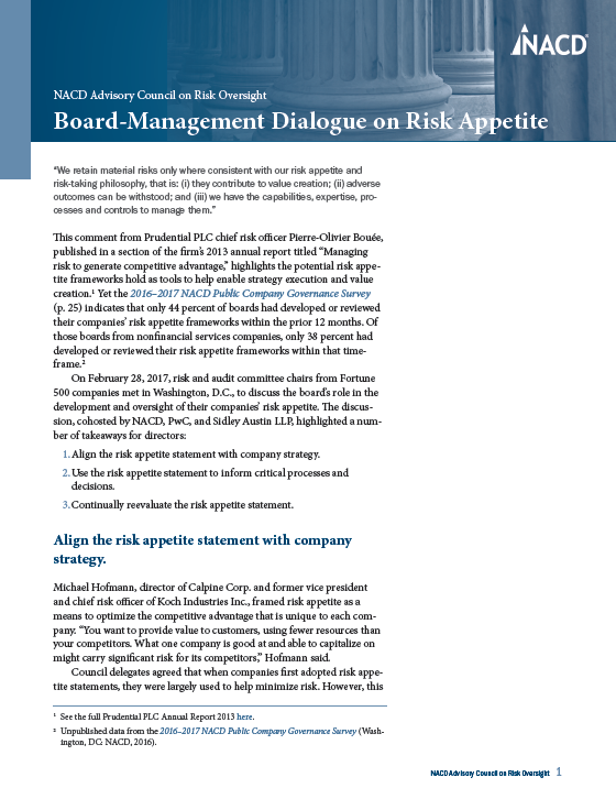 NACD Advisory Council on Risk Oversight: Board-Management Dialogue on Risk Appetite Cover